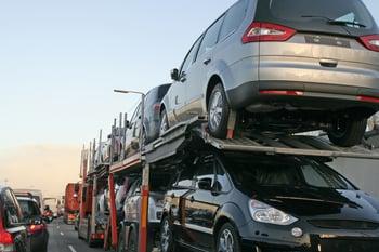 Cars on a transport hauler