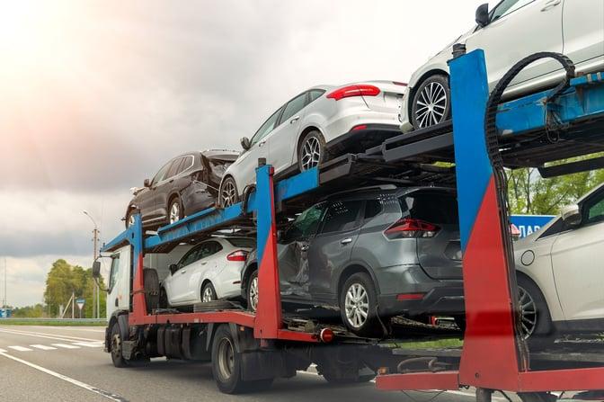 cars on trailer